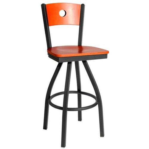 Darby Metal Frame Swivel Barstool - Circle Wood Back and Wood Seat