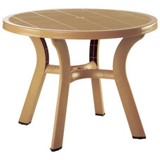 Truva Outdoor Resin 42'' Round Dining Table with Umbrella Hole and Cap - Teak Brown