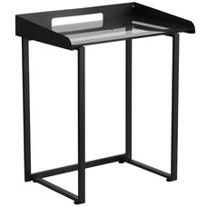 Contemporary Desk with Clear Tempered Glass and Black Metal Frame