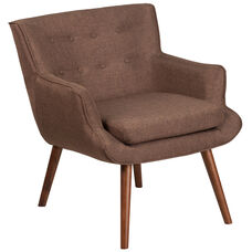 HERCULES Hayes Series Brown Fabric Tufted Arm Chair
