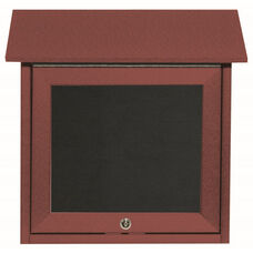 Rosewood Slimline Series Top Hinged Single Door Plastic Lumber Message Center with Letter Board - 18