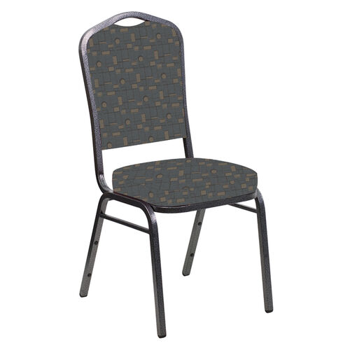 Our Embroidered Crown Back Banquet Chair in Circuit Teal Fabric - Silver Vein Frame is on sale now.