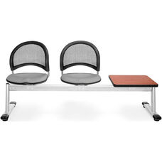 Moon 3-Beam Seating with 2 Putty Fabric Seats and 1 Table - Cherry Finish