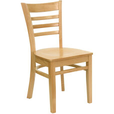 Natural Wood Finished Ladder Back Wooden Restaurant Chair