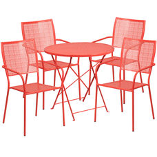 """Commercial Grade 30"""" Round Coral Indoor-Outdoor Steel Folding Patio Table Set with 4 Square Back Chairs"""