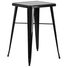 "Commercial Grade 23.75"" Square Black Metal Indoor-Outdoor Bar Height Table"
