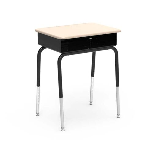 Our Quick Ship 785 Series Hard Plastic Sandstone Top Student Desk with Black Open Front Metal Book Box and Legs - 18