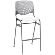 2300 KOOL Series Stacking Poly Armless Barstool with Light Grey Perforated Back and White Seat
