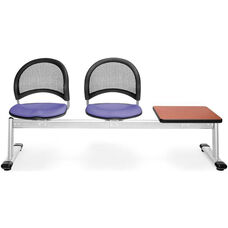 Moon 3-Beam Seating with 2 Lavender Fabric Seats and 1 Table - Cherry Finish