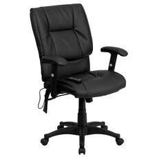 Mid-Back Ergonomic Massaging Black Leather Executive Swivel Office Chair with Adjustable Arms