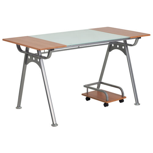 Our Computer Desk with Glass and Cherry Laminate Top is on sale now.