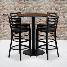 36'' Round Walnut Laminate Table Set with Ladder Back Metal Barstool and Black Vinyl Seat, Seats 4