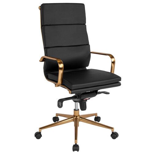 Our High Back Black Leather Executive Swivel Office Chair with Gold Frame, Synchro-Tilt Mechanism and Arms is on sale now.