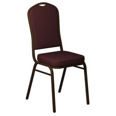 Embroidered Crown Back Banquet Chair in Sherpa Rosewood Fabric - Gold Vein Frame