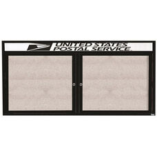 2 Door Outdoor Enclosed Bulletin Board with Header and Black Powder Coated Aluminum Frame - 36