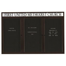 3 Door Indoor Illuminated Enclosed Directory Board with Header and Black Anodized Aluminum Frame - 48