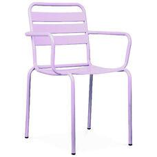 Paris Lilac Metal Stackable Arm Chair - Set of 4