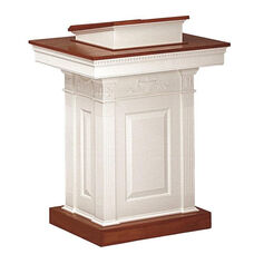 Red Oak Colonial Finish Pedestal Pulpit with Adjustable Bible Rest