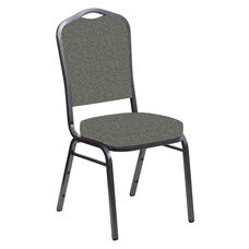 Embroidered Crown Back Banquet Chair in Ribbons Heather Fabric - Silver Vein Frame