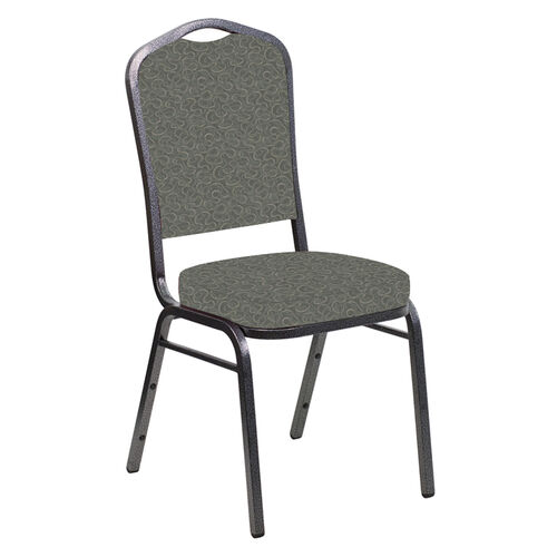 Our Embroidered Crown Back Banquet Chair in Ribbons Heather Fabric - Silver Vein Frame is on sale now.