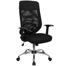 High Back Black Mesh Executive Swivel Office Chair with Arms