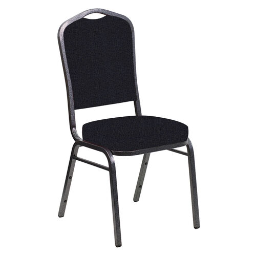 Our Crown Back Banquet Chair in Cobblestone Blissful Blue Fabric - Silver Vein Frame is on sale now.