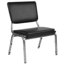 HERCULES Series 1500 lb. Rated Black Antimicrobial Vinyl Bariatric Chair with 3/4 Panel Back and Silver Vein Frame