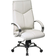 Pro-Line II Deluxe High Back Leather Executive Chair with Chrome Base - White