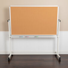 """HERCULES Series 53""""W x 59""""H Reversible Mobile Cork Bulletin Board and White Board with Pen Tray"""