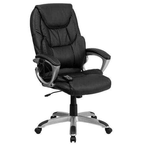 Our High Back Ergonomic Massaging Black LeatherSoft Executive Swivel Office Chair with Silver Base and Arms is on sale now.