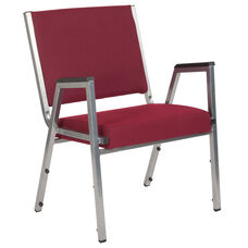 HERCULES Series 1500 lb. Rated Burgundy Antimicrobial Fabric Bariatric Arm Chair with Silver Vein Frame