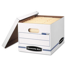 Bankers Box® EASYLIFT Storage Box - Letter/Letter - Lift-Off Lid - White/Blue - 12/Carton