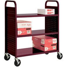 39'' W x 19'' D x 46'' H Flat Three Shelf Booktruck - Burgundy