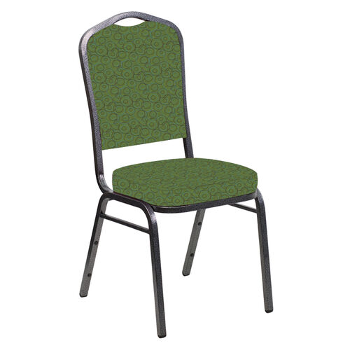 Our Embroidered Crown Back Banquet Chair in Martini Appletini Fabric - Silver Vein Frame is on sale now.