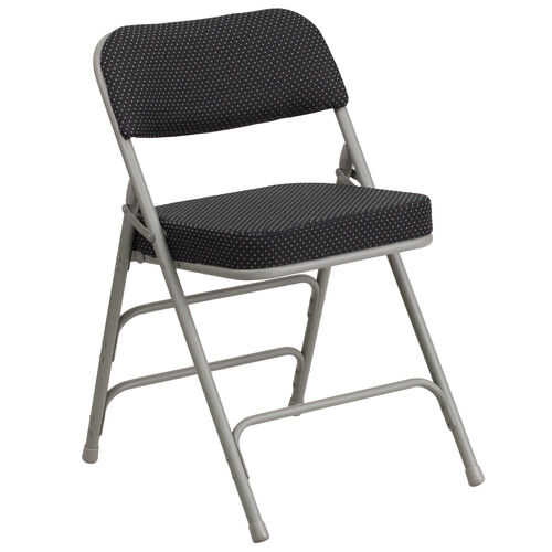Our HERCULES Series Premium Curved Triple Braced & Double Hinged Black Pin-Dot Fabric Metal Folding Chair is on sale now.