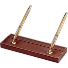 Rustic Leather Double Pen Stand - Brown with Gold Accents