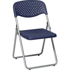 Work Smart Folding Chair with Ventilated Plastic Seat and Back - Set of 4 - Blue with Silver Frame