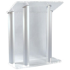 Contemporary Non-Sound Clear Acrylic and Silver Aluminum Lectern - 42''W x 21''D x 48''H