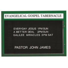 Double Sided Illuminated Community Board with Header and Green Powder Coat Finish - 42