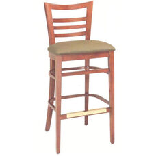 1636 Bar Stool w/ Upholstered Seat & Brass Trim Footrest - Grade 1