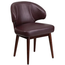 Comfort Back Series Burgundy LeatherSoft Side Reception Chair with Walnut Legs