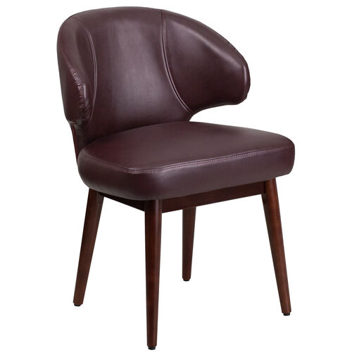 Our Comfort Back Series Burgundy LeatherSoft Side Reception Chair with Walnut Legs is on sale now.
