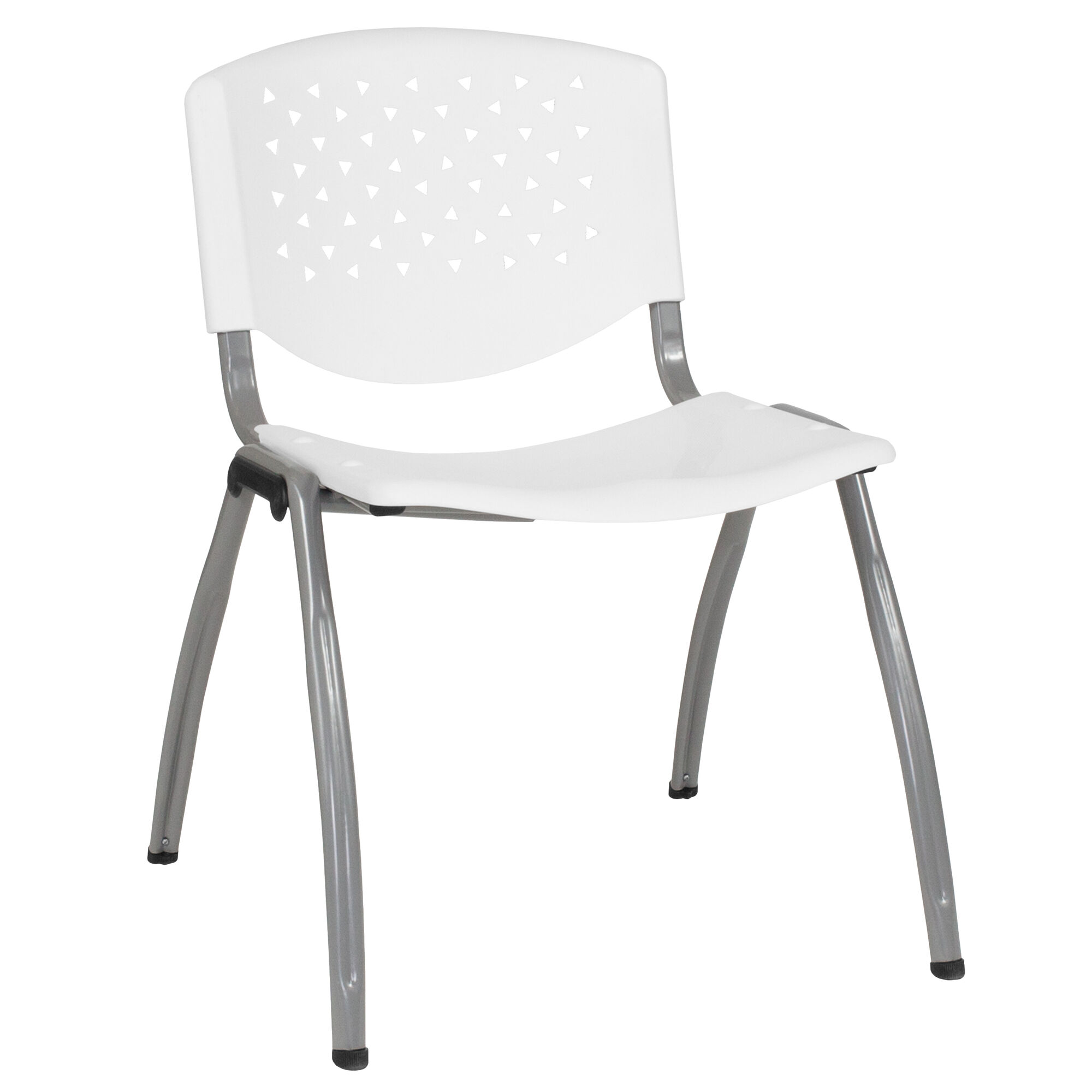 Hercules Series 880 Lb Capacity White Plastic Stack Chair With Anium Gray Powder Coated Frame