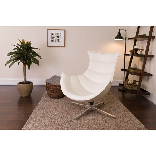 Our Melrose White LeatherSoft Swivel Cocoon Chair is on sale now.