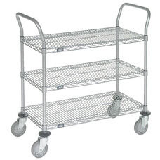 Chrome 3 Shelf Utility Cart-Polyurethane Caster - 24