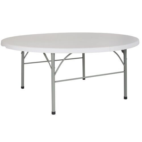 Our 6-Foot Round Bi-Fold Granite White Plastic Banquet and Event Folding Table with Carrying Handle is on sale now.