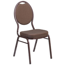HERCULES Series Teardrop Back Stacking Banquet Chair in Brown Patterned Fabric - Copper Vein Frame