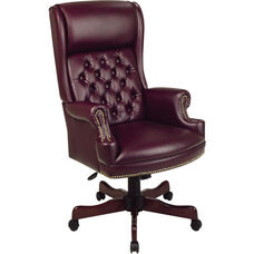 Work Smart Deluxe High Back Traditional Button Tufted Vinyl Executive Chair with Mahogany Finish Legs - Oxblood