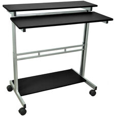 Steel Frame 3 Shelf Adjustable Height Standing Presentation Station - Black - 39.5''W x 29''D x 34''- 46''H
