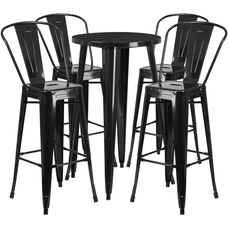 24'' Round Metal Indoor-Outdoor Bar Table Set with 4 Cafe Stools